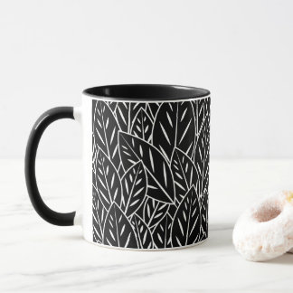 Native B&W Flora Leaves Mug