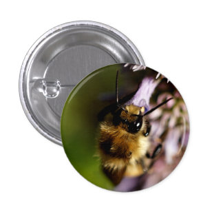 Native Bee on a Purple Flower 3 Cm Round Badge