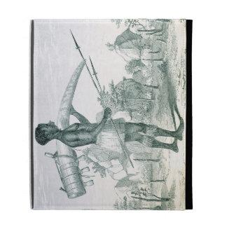 Native carrying a decorated ivory elephant tusk, f iPad folio case
