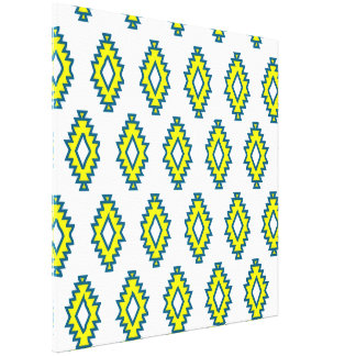 Native colorful pattern yellow blue white fun gallery wrapped canvas