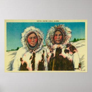 Native Eskimo Girls in AlaskaState Poster