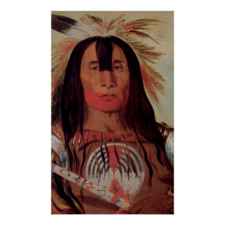 Native Indian Chief 1832 Blood Tribe Art  Poster