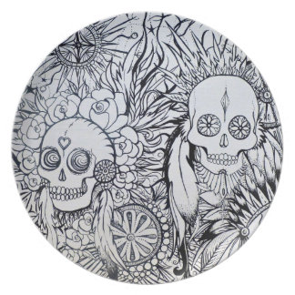 native indian plate tattoo skull style art