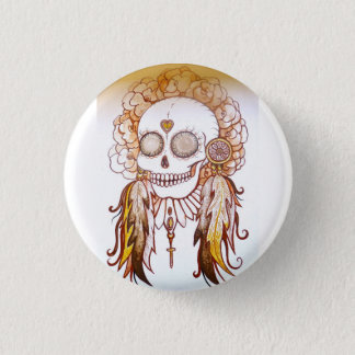 Native indian skull & flower head dress pin badge