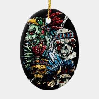 Native Indian Skull Skeleton Ceramic Ornament