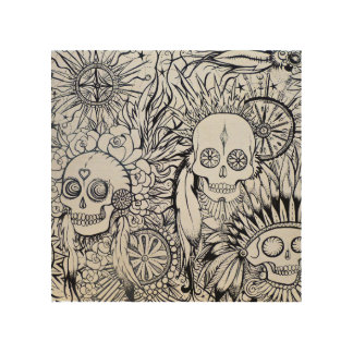 native indian tattoo skull skeleton feathers art