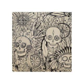 native indian tattoo skull skeleton feathers art wood print