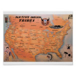 Native Indian Tribes Map Poster