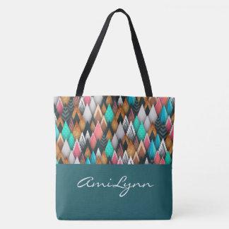Native Innovative in TEAL, Browns, Tans-Handbag Tote Bag