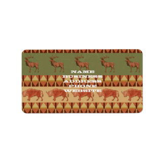 native pattern buffalo deer indigenous decoration address label