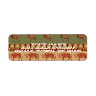 native pattern buffalo deer indigenous decoration return address label