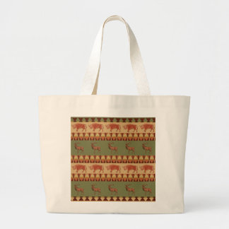 native pattern buffalo deer indigenous decoration large tote bag