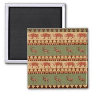 native pattern buffalo deer indigenous decoration square magnet