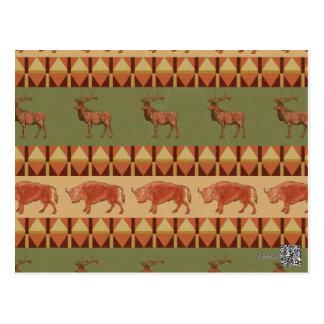 native pattern buffalo deer indigenous decoration postcard