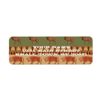 native pattern buffalo deer indigenous decoration return address label