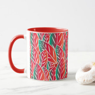 Native Red Flora Leaves Mug