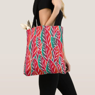 Native Red Flora Leaves Tote Bag