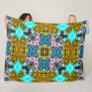 Native Shaman Spirit World Tribal Mandala Quilt Fleece Blanket