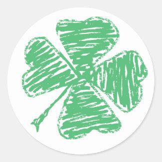 Native shamrock round sticker