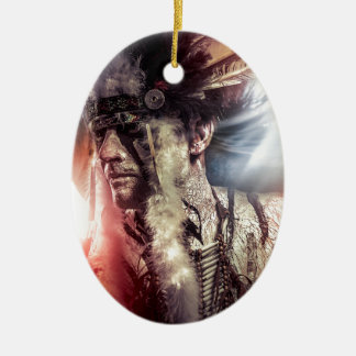 Native sunset american indian chiet AT Ceramic Ornament