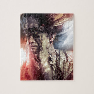 Native sunset american indian chiet AT Jigsaw Puzzle