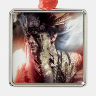 Native sunset american indian chiet AT Metal Ornament
