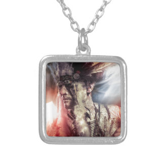Native sunset american indian chiet AT Silver Plated Necklace