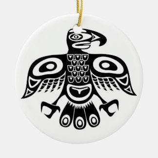 Native totem bird ceramic ornament