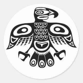 Native totem bird classic round sticker