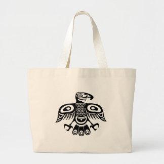 Native totem bird large tote bag