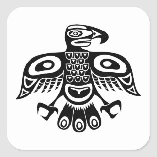 Native totem bird square sticker