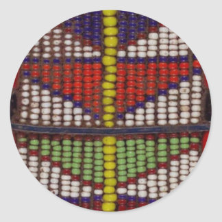 Native Tribal Geometric Beads Pattern Round Sticker