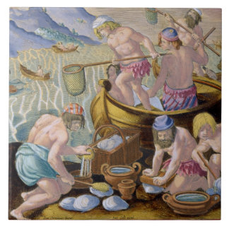 Natives Fishing for Giant Clams on the Indus, plat Tile