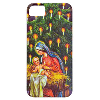 Nativity and a Christmas tree iPhone 5 Cases