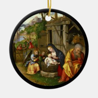 Nativity and Child Angels  c1515 Ceramic Ornament