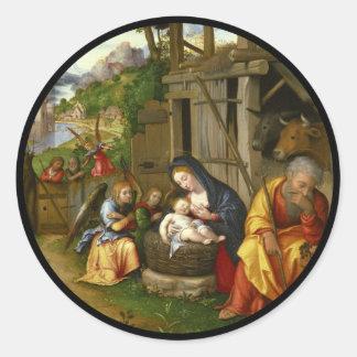 Nativity and Child Angels  c1515 Classic Round Sticker