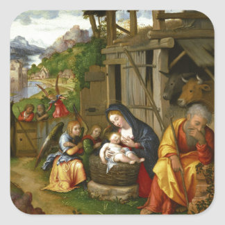 Nativity and Child Angels  c1515 Square Sticker