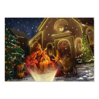 Nativity and Church - The Birth of Christ 13 Cm X 18 Cm Invitation Card