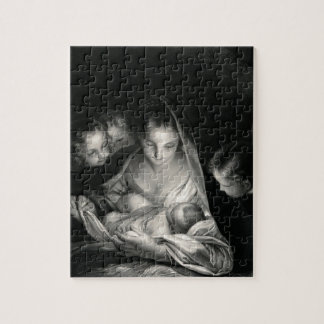 Nativity Baby Jesus Virgin Mary Angels Black White Jigsaw Puzzle