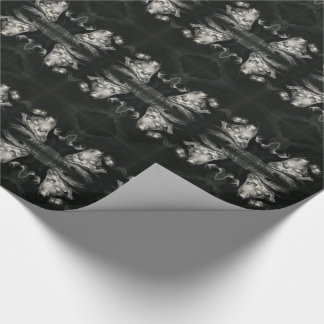 Nativity Baby Jesus Virgin Mary Angels Black White Wrapping Paper