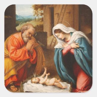 Nativity by Lorenzo Lotto Square Sticker