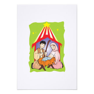 Nativity Christmas Birth of Jesus Christ Stamps Custom Announcements