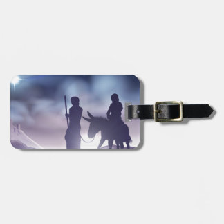 Nativity Christmas Illustration Mary and Joseph Luggage Tag