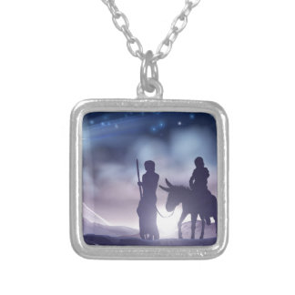 Nativity Christmas Illustration Mary and Joseph Silver Plated Necklace