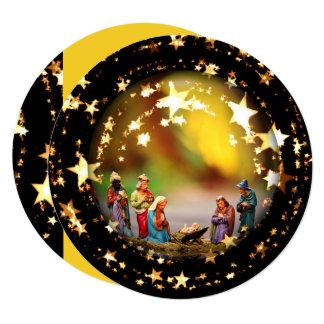 Nativity Crib Virgin Mary Jesus Christmas Stars Card