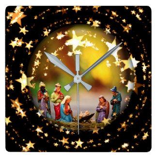 Nativity Crib Virgin Mary Jesus Stars Christmas Square Wall Clock