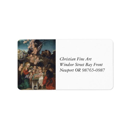 Nativity Featuring Cherubs Address Label