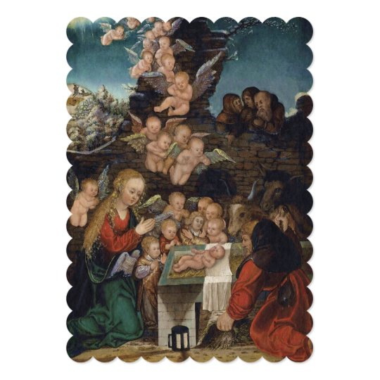 Nativity Featuring Cherubs Card