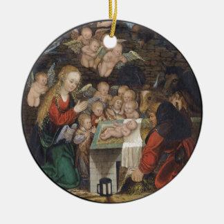 Nativity Featuring Cherubs Ceramic Ornament