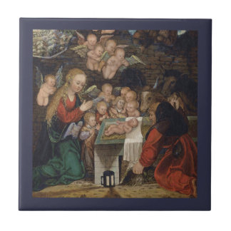 Nativity Featuring Cherubs Ceramic Tile